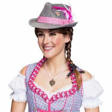 Bierfeest hoed met roze verenpluim