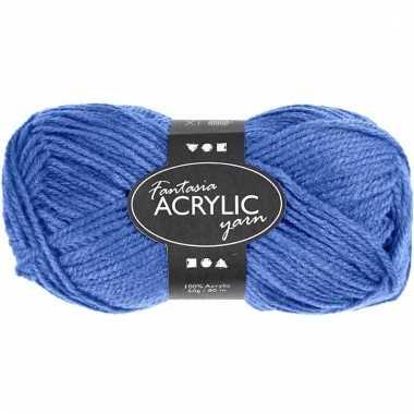 Blauw acryl 3-draads garen 80 meter