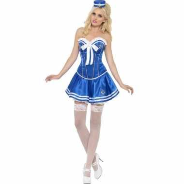 Blauw matroos jurkje met korset