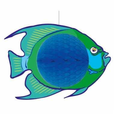Blauw met groene decoratie vis 28 x 40 cm