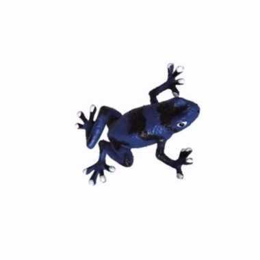 Blauw met zwarte plastic kikker 5 cm