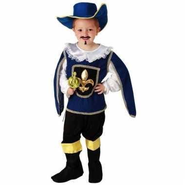 Blauw musketiers geschiedenis kostuum voor jongens