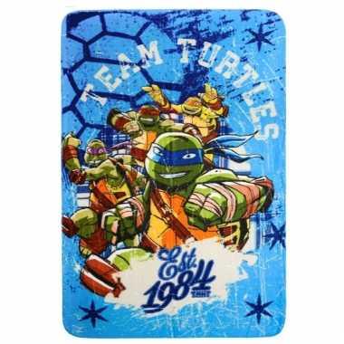 Blauw ninja turtles deken voor kinderen