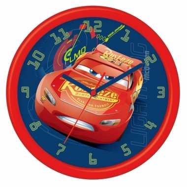 Blauw/rode cars klok lightning mcqueen 26 cm