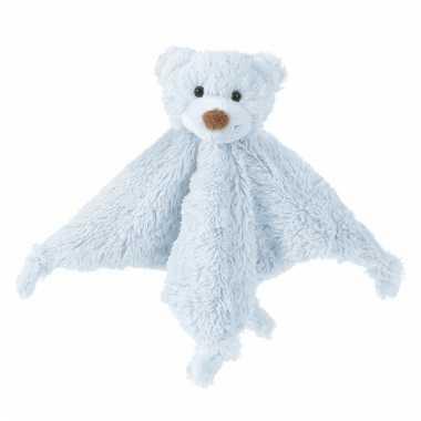Blauw tuttel knuffel lapje van een beer 20 cm
