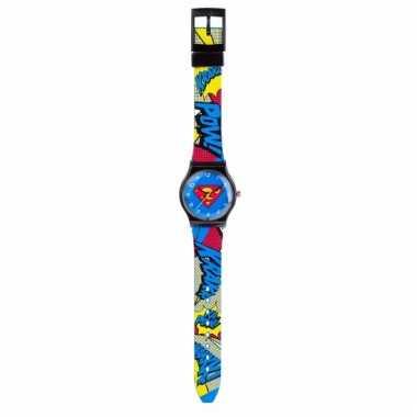 Blauwe analoge superman horloges voor jongens/meisjes
