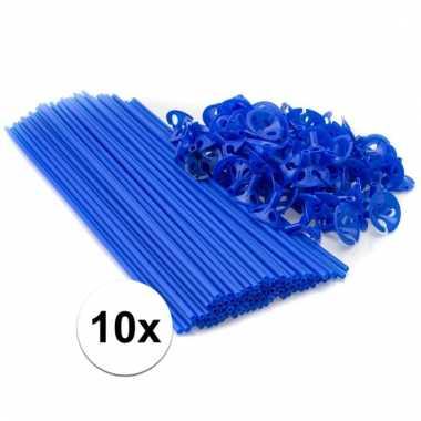 Blauwe ballonnenstaafjes/ballonnenstokjes 10 stuks