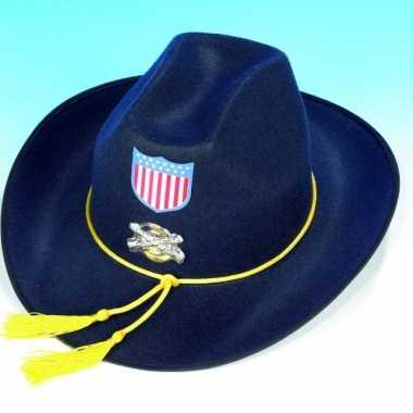 Blauwe cavalerie hoed voor volwassenen