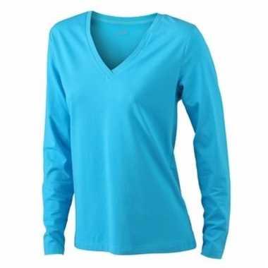 Blauwe dames cotton stretch shirts ls