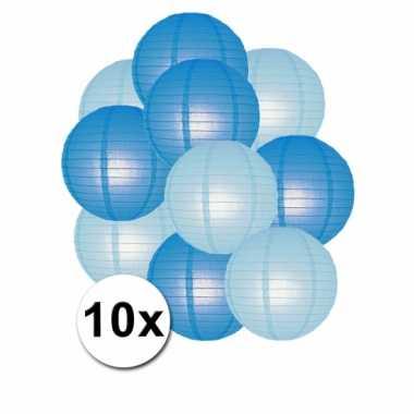 Blauwe en lichtblauwe feest lampionnen 10x