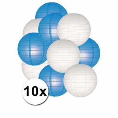 Blauwe en witte feest lampionnen 10x
