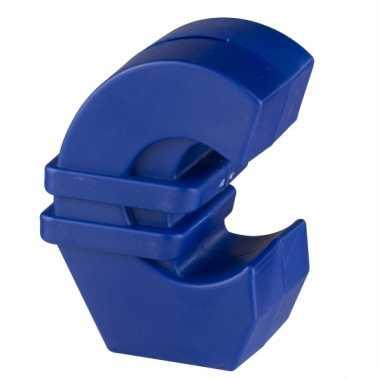 Blauwe euroteken spaarpot 11 cm