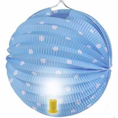 Blauwe feest lampion met witte stippen 20 cm