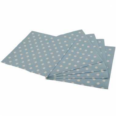 Blauwe feest servetten met witte stippen 33 cm