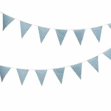 Blauwe feest vlaggenlijn met witte stippen 4 m