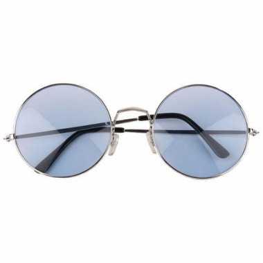 Blauwe flower power bril met grote glazen