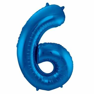 Blauwe folie ballonnen 6 jaar