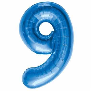 Blauwe folie ballonnen 9 jaar