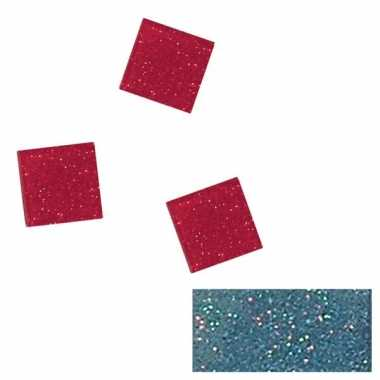 Blauwe glitter mozaiek steentjes in doosje