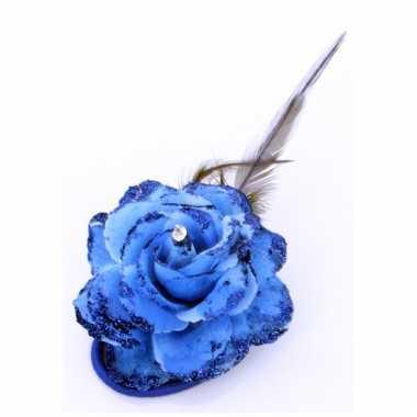 Blauwe glitterbloem met elastiek en speld