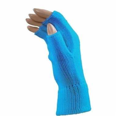Blauwe handschoenen vingerloos voor volwassenen