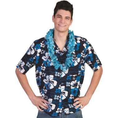 Blauwe hawaii blouse voor mannen