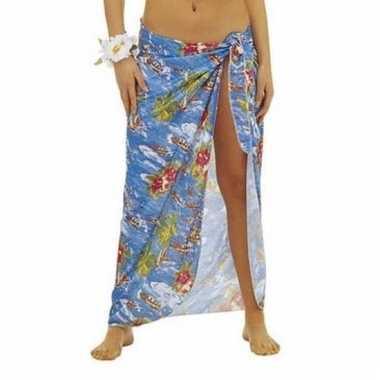 Blauwe hawaii verkleed sarong rok voor dames