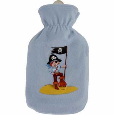 Blauwe kruik met fleece hoes piraatje