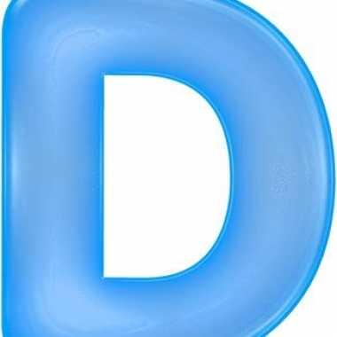 Blauwe opblaasbare letter d