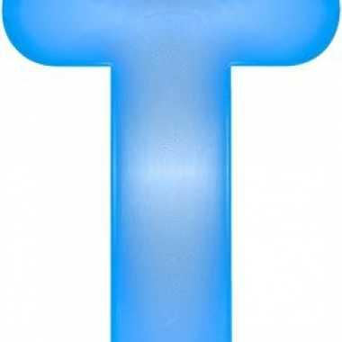 Blauwe opblaasbare letter t