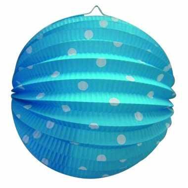 Blauwe party lampionnen met witte stippen