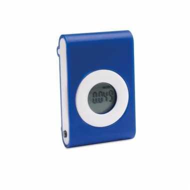 Blauwe pedometer met broekriem clip