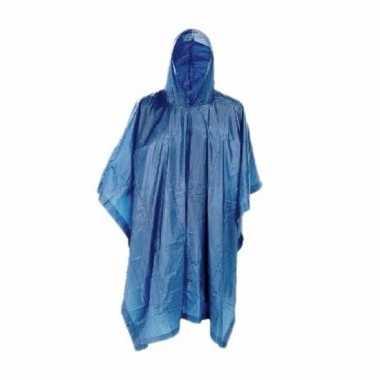 Blauwe regenjas poncho voor volwassenen