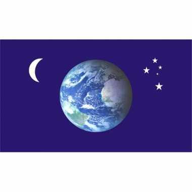 Blauwe vlag aarde, maan en sterren