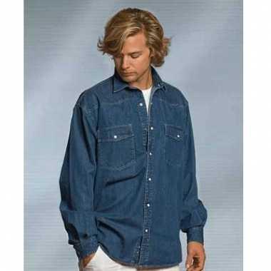 Blauwe vrijetijds overhemd