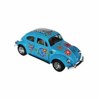Blauwe vw kever modelauto 12,5 cm