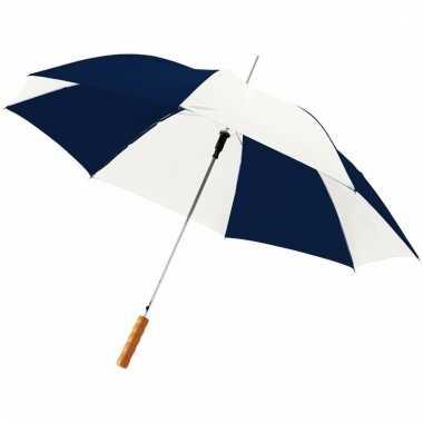 Blauwe/witte paraplu automatisch 82 cm