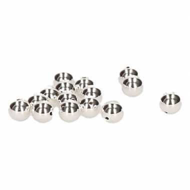 Bling bling kralen zilverkleurig 8 mm 15 stuks