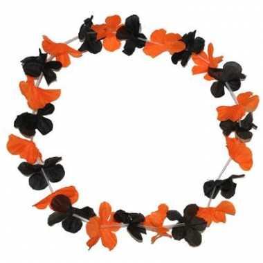 Bloemen krans zwart met oranje