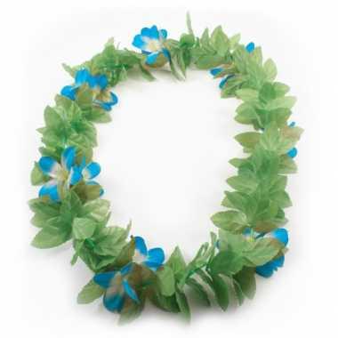Bloemenkrans ketting blauwe bloem