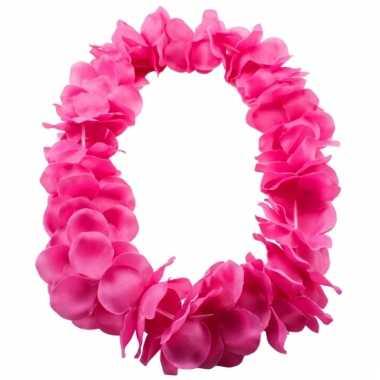 Bloemenkrans ketting roze