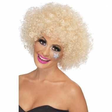 Blonde afro pruik synthetisch voor dames