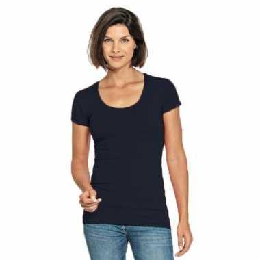 Bodyfit navy dames shirt met ronde hals