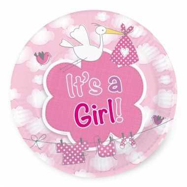 Bordjes geboorte meisje 8 stuks
