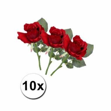 Bosje rode kunstrozen 10 stuks 30 cm