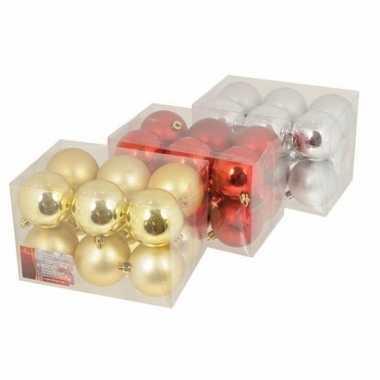 Box met rode kerstballen 6 cm 12 stuks