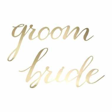 Bruidspaar stoelversiering bride en groom