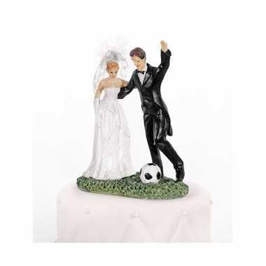 Bruidstaart decoratie bruidspaar voetbal