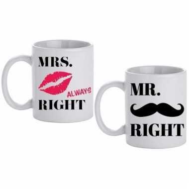 Bruiloft cadeau beker / mokken set mr & mrs right