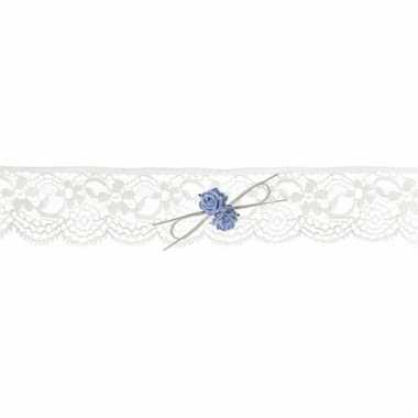 Bruiloft kousenbandje met blauwe roosjes